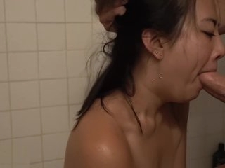 BLUE Eyes Asian Moaning for Creampie &amp_ THROATFUCKS his cock WMAF