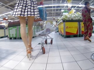 Chinese lady, upskirt in the supermarket