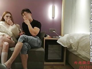Chinese Real Prostitution, escort babe with huge natural tits has sex