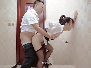 Security fucking the office lady brutally and hardcore